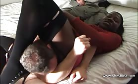 Black mistress rides white guys face