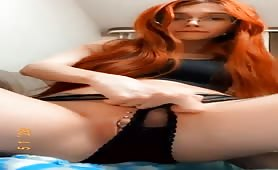 Tattooed redhead slut from Oldbury messes with herself while parents downstairs