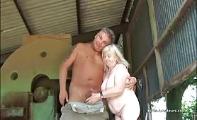 Granny has sex outdoors